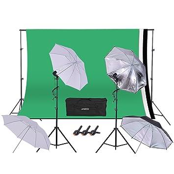Andoer Kit paraguas de iluminación para fotografía Studio gráfica dibujo Incluye 2 paraguas blancos y 2