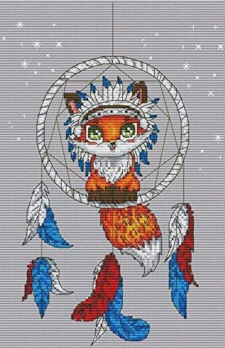 Spaziergang mit Katze gepr/ägtes Stickset 14-f/ädig pr/äzise gedruckte Nadelarbeit 40 x 33 cm Joy Sunday Kreuzstich-Set