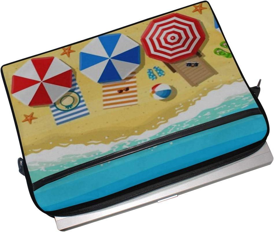 College Students Business Laptop Bag Beach Sun Umbrellas Flipflops Mat On 15-15.4 Inch Laptop Case Briefcase Messenger Shoulder Bag for Men Women