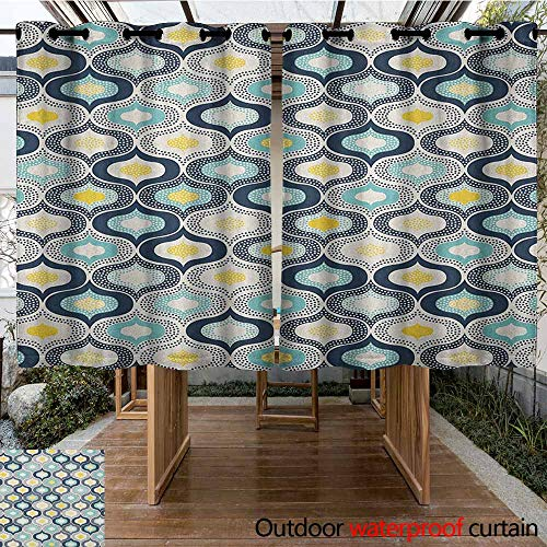 Indoor/Outdoor Curtains,Modern,Geometric Morrocan Mediterrain Style Dots with Ornamental Details Image Print,Simple Stylish,K160C115 Blue and White