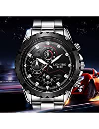 LONGBO Mens Sport Big Face Racing Watch Fashion Analog Display Stainless Steel Band Military Analog Quartz Wrist...