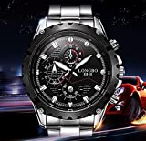 LONGBO Mens Sport Big Face Racing Watch Fashion Analog Display Stainless Steel Band Military Analog Quartz Wrist Watches Black