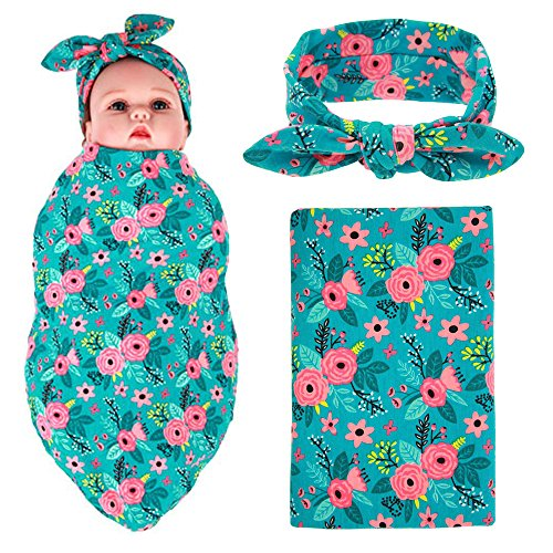 Newborn Baby Swaddle Blanket and Headband Value Set,Receiving Blankets(Blue ()