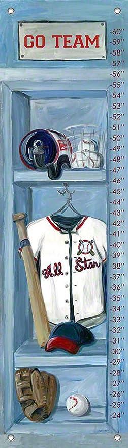 Oopsy Daisy Baseball Locker Growth Chart by Jones Segarra 12 by 42-Inch Fine Art for Kids NI2571