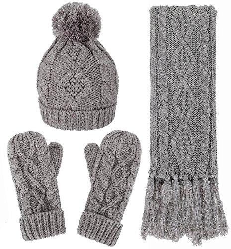Women's Winter Warm Cable Knit 3 Piece Fleece Hat, Glove & Scarf Set,Grey