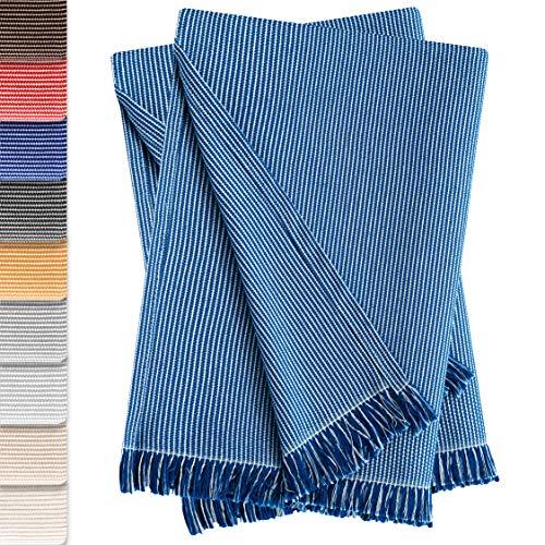 🥇 Vipalia Pack de 2 Colchas Multiusos Sofa. Plaids para Cama. Mantas Foulard Cubresofa Cubrecama. Comodas Practicas y Suaves. Calidad Diseño. Paul 180 x 260 cm Azul