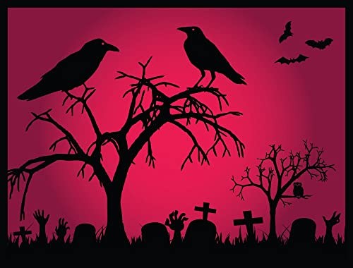 Halloween Decoration Front Door Welcome Mat – Crows – 24 x 18 Inch Doormat