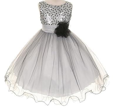 c6b782895e Amazon.com  BNY Corner Big Girls Flower Girls Dress Sequin Beaded Dress  Silver Baby S-XL Girls 2-14  Clothing