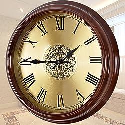 CGGHY 20 Inch Wall Clock (50.5 Cm In Diameter) Solid Wood Clocks European Round Table Living Room Silent Quartz Clock Modern Simple Creative Bedroom Hanging Table Woody Metal Dials Roman Numerals