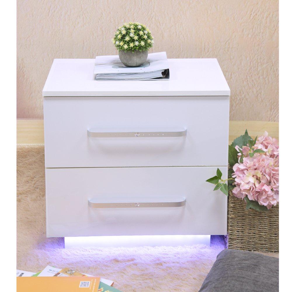 Anaelle Pandamoto Table de Chevet Moderne avec Lumineux LED et 2 Tiroirs - Fourniture de la Chambre - Taille: 55*50*37cm