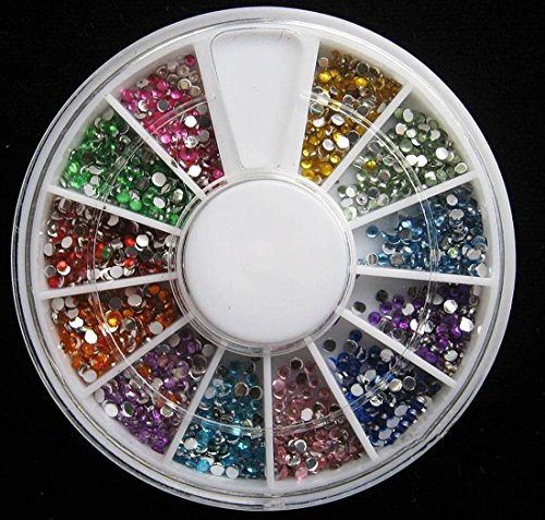 1 Sets Pleasantness Popular 3D Nail Art Wheel Glitters Random Mixed Non-Toxic Manicure Accessory Primer DIY Style Mix Color 1.5mm Rhinestones