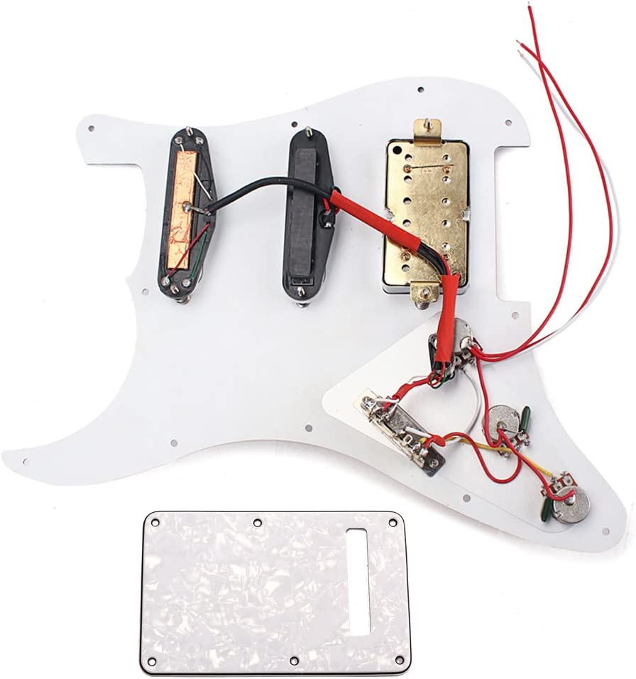 gazechimp White Pearl 3-ply Loaded Prewired Pickguard/&Black Plate For Electric Guitar