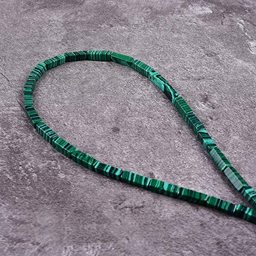"Asingeloo 30PCS 4X13mm Natural Green Malachite Gemstone Loose Beads Tube Energy Stone Healing Power for Jewelry Making 15.5"" a Strand"