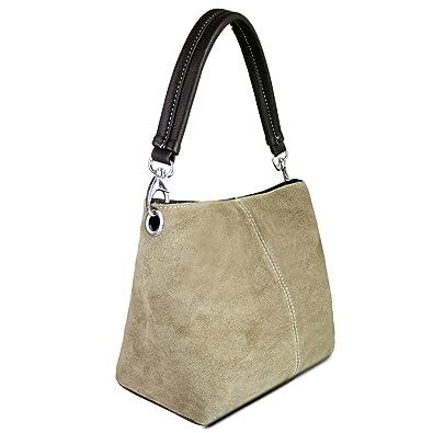 6325a89f3697 Miss Lulu Women Genuine Italian Suede Leather Small Handbag Shoulder Hand Tote  Bag (1403 Khaki