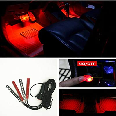 Car Interior Decoration, NERLMIAY 4pcs Atmosphere Light-LED Car Interior Lighting Kit Waterproof, Interior Atmosphere Neon Lights Strip for Car (red): Automotive [5Bkhe2006797]