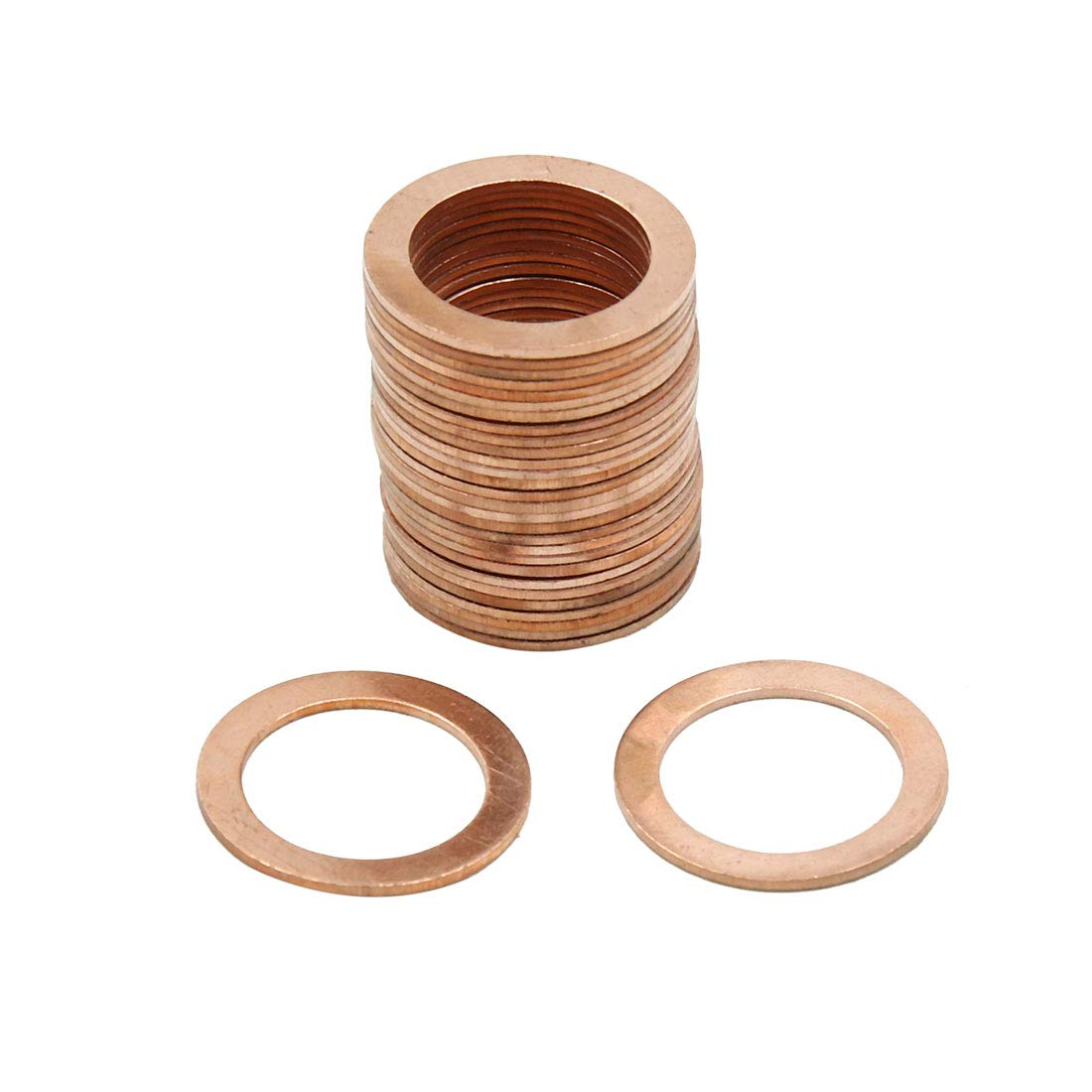 X AUTOHAUX 18mm Inner Dia Copper Crush Washers Car Flat Sealing Plate Gaskets Rings 30pcs