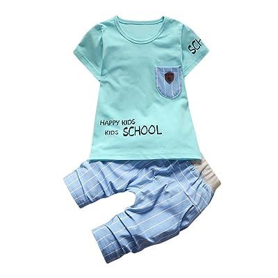 Deux Ensembles De Lettres Bébé Happy Kids School Veste T-Shirt + Pantalon Rayé Rawdah T-Shirt Bébé Garçons Filles Lettre Poche Hauts Rayé Pantalon 2 Pcs Ensemble Tenues