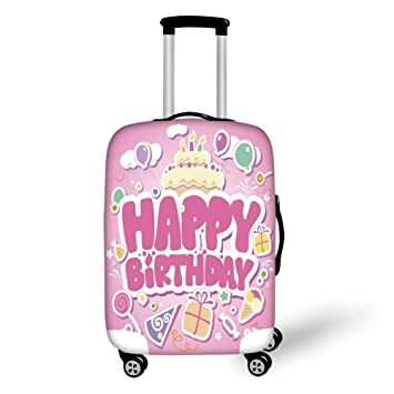 Travel Luggage Cover Watercolor Pink Background Suitcase Protector