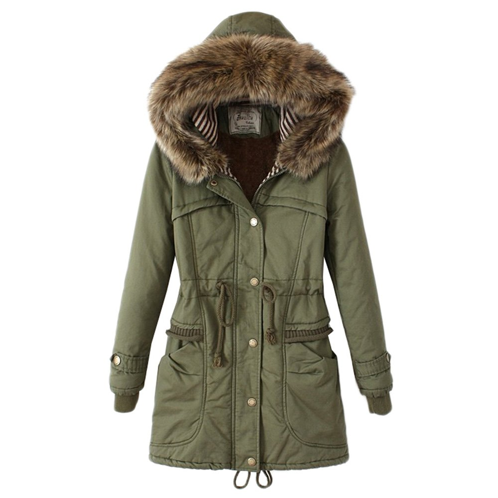 Bestfort Warm Mantel Damen Wolle Jacke Wintermantel mit Kapuze f¨¹r Outdoor Winter Wolle der kragen