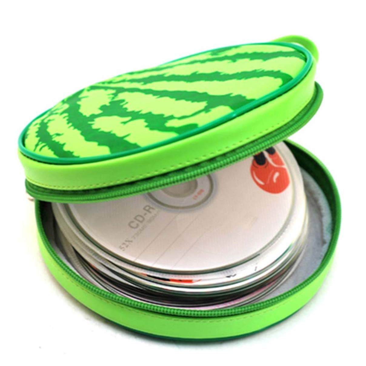 Essencedelight CD Bag Portable Round Watermelon Capacity Disc Holder Organizer Storage Carrying Case for Car Office Travel