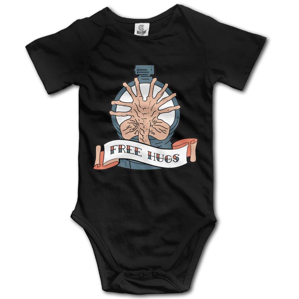 Jaylon Baby Climbing Clothes Romper Free Hugs Logo Infant Playsuit Bodysuit Creeper Onesies Black