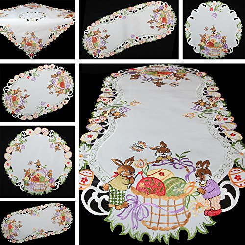 Quinny Shop Spring Bunny Easter Eggs Bright Embroidery Table Runner Table Cloth Size Available Polyester White Polyester Weiß Kissenhülle 40 X 40