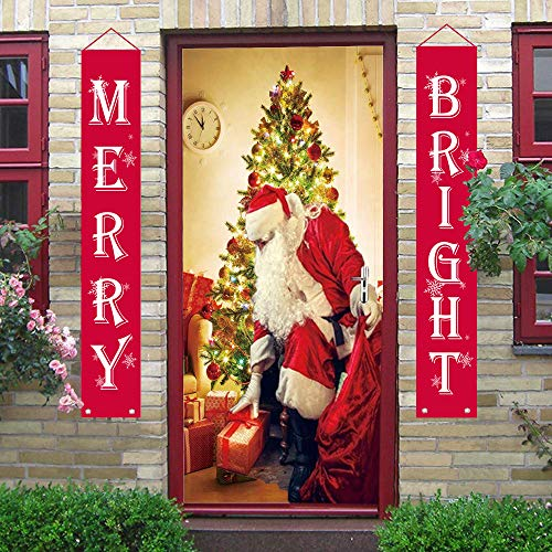 Christmas Decorations Merry Bright Christmas Banner Outdoor Indoor, Merry Bright Porch Sign | Red Xmas Decor Banners for Home Wall Door Apartment Party Christmas Supplies ()