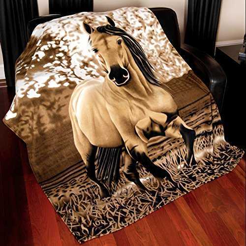 Horse Blanket Fleece Throw - 63x73 Premium (Horse Throw)