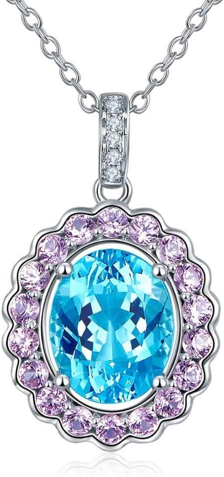 Diamond-joyería 14K Oro Blanco Aguamarina La Piedra Preciosa Natural del Zafiro Colgante para Regalo de cumpleaños de Marzo W/Cadena de Plata