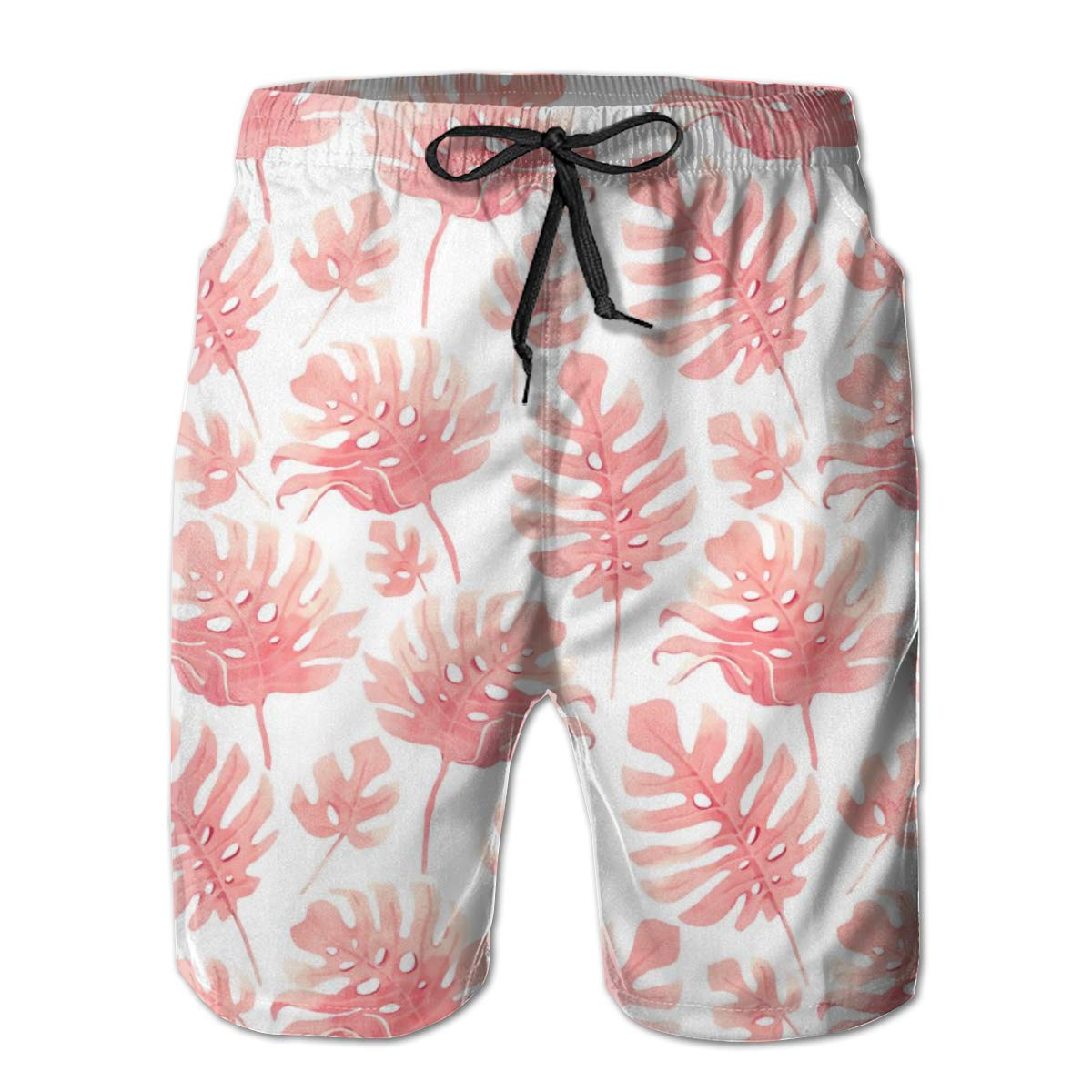 SARA NELL Mens Shorts Watercolor Tropical Palm Leaf Pattern Quick Dry Swim Trunks Beach Board Shorts