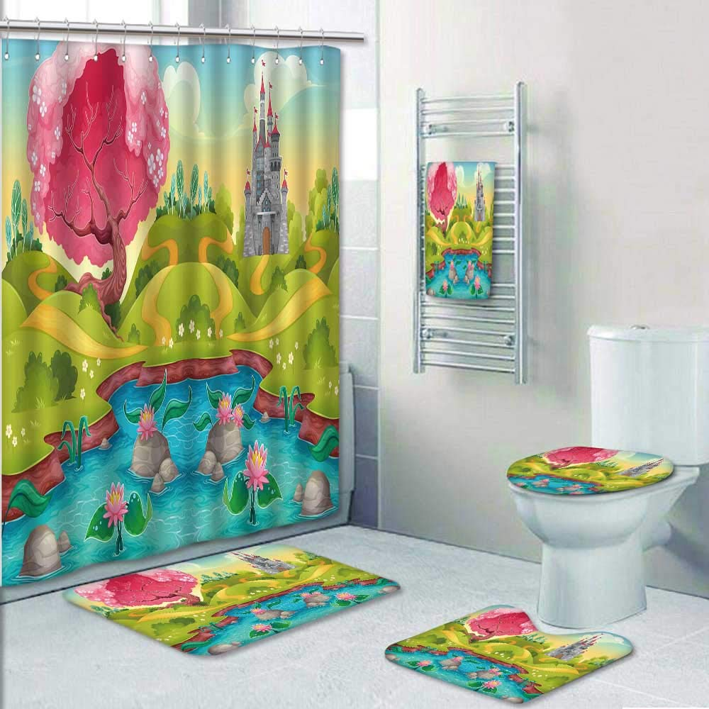 Philip-home 5 Piece Banded Shower Curtain Set Fantasy Landscape with Castle in The Countryside Decorate The Bath