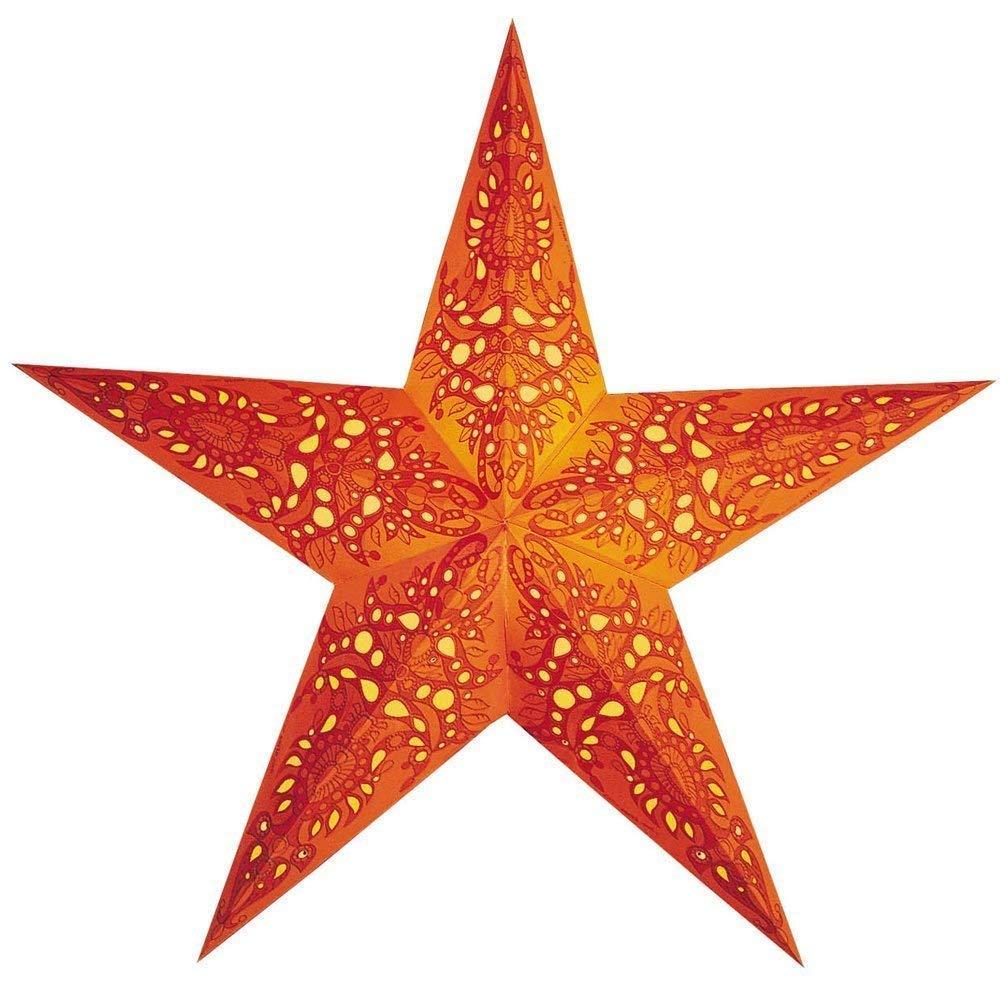 Papierstern Weihnachtsdeko | Weihnachtssternmono orange M | Leuchtstern orange | Adventsstern 5 Zacken | starlightz fair trade Handmade | Weihnachten Leuchtdeko