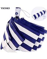 VIOMO 傘 自動開閉式 ワンタッチ 折り畳み 晴雨兼用 紫外線遮蔽率 99.99% 遮光 遮熱 丈夫 8本骨傘 直径100cm  UPF50+ 収納ポーチ付き  (ブルー)