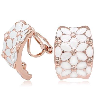 Kemstone Rose Gold White Enamel Flower Clip On Earrings for Women dBhUAIjnv