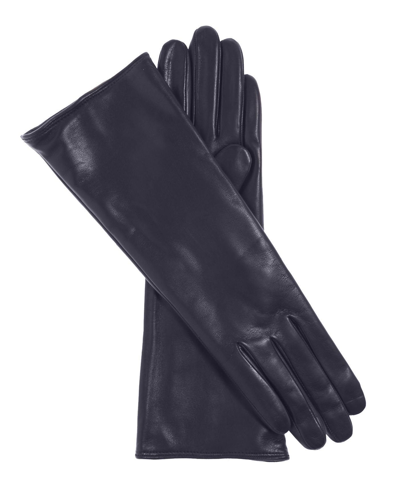 Fratelli Orsini Women's Italian''4 Button Length'' Cashmere Lined Leather Gloves Size 7 Color Navy by Fratelli Orsini
