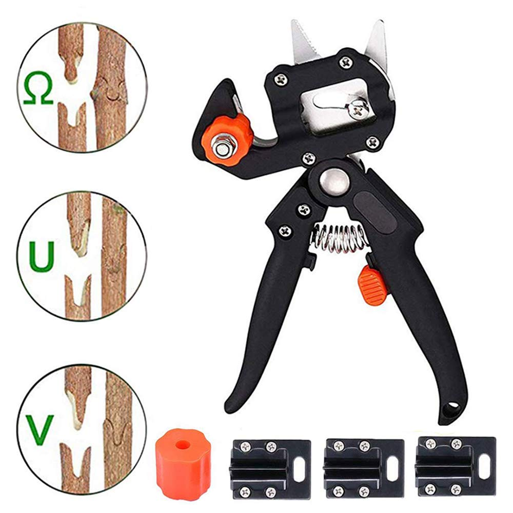 Professional Grafting Tool Garden Graft Pruner, Promote Plants Healing and Growth, Efficient Gardening Grafting Scissor Replaceable V/U/Ω Blades Durable Carbon Steel Comfort Handle