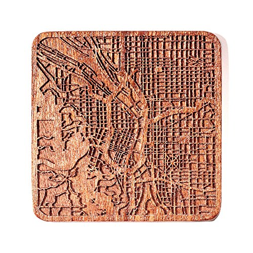 Portland Map Coaster by O3 Design Studio, 1 piece, Sapele Wooden Coaster With City Map, Handmade, Multiple city optional -