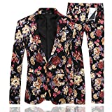 Mens 2 Piece Suit Notched Lapel Sport Coat Floral One Button Slim Fit