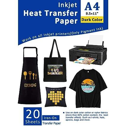 Papel de transferencia para impresoras de inyección de tinta para telas oscuras, 20 hojas A4, vinilo de transferencia de calor imprimible, lavable, ...