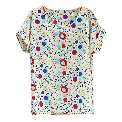 Vobaga Women's Blue Bubble Pattern Loose Batwing Chiffon Blouse T-Shirt XXL