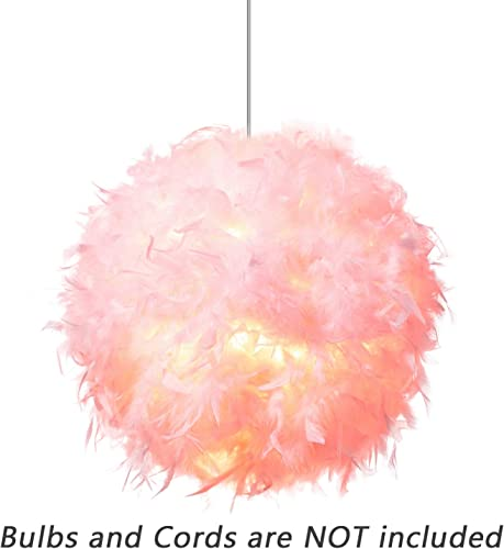 Waneway Feather Lamp Shade for Ceiling Pendant Light, Lampshade for Table Lamp and Floor Lamp for Living Room, Bedroom, Wedding or Party Decoration, Diameter 15.7 inches, Pink