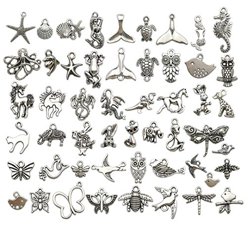 Youdiyla 100 PCS Mixed Charms Collection - Mixed Antique Silver Metal Pendant Supplies Findings for Jewelry Making (HM123) from Youdiyla