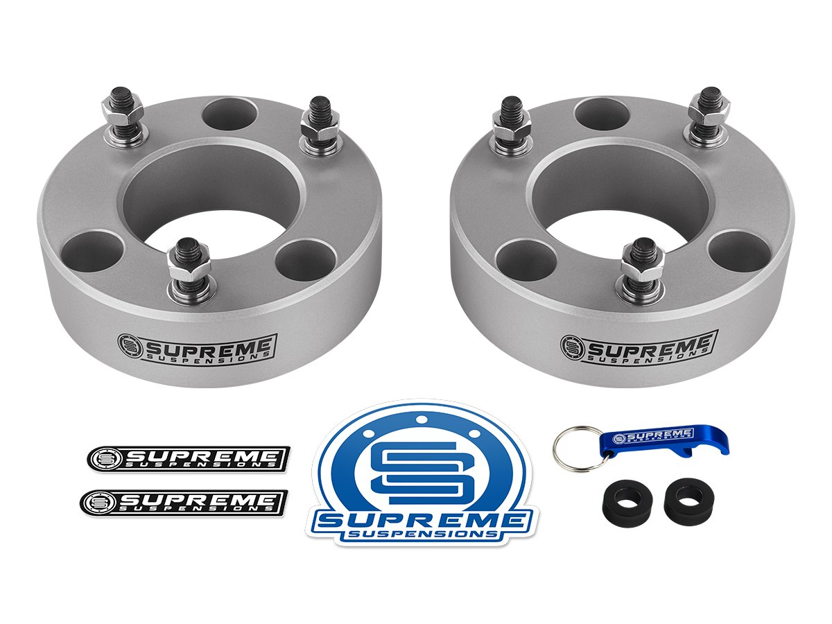 Supreme Suspensions - F150 Lift Kit Front 3.5'' Leveling Lift Kit for [2004 - 2008 Ford F-150] and [2003 - 2018 Ford Expedition] SILVER Aircraft Billet Strut Spacers