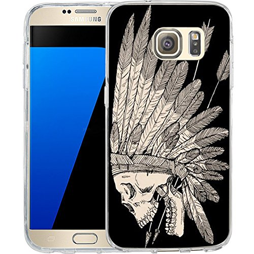 S7 Case Indian tribes skeleton, LAACO Scratch Resistant TPU Gel Rubber Soft Skin Silicone Protective Case Cover for Samsung Galaxy S7