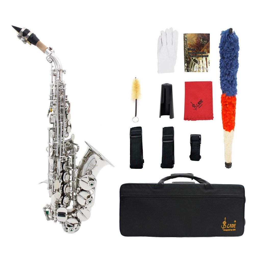 ammoon LADE Brass Golden Carve Pattern Bb Bend Althorn Soprano Saxophone Sax Pearl White Shell Buttons Wind Instrument with Case Gloves Cleaning Cloth Grease Belt Brush
