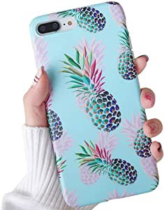 iPhone 8 Plus Case, iPhone 7 Plus Case, Red & Green Pineapple Pattern Design, Slim Fit Clear Bumper Soft TPU Full-Body Protective Cover Case for iPhone 8Plus / 7Plus 5.5'' (Illusion Pineapple)