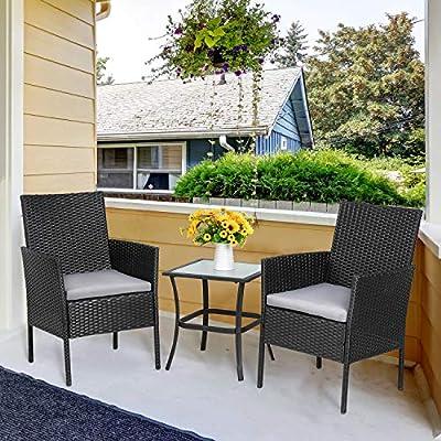 Amazon Com Vongrasig 3 Piece Porch Furniture Sets Small Outdoor Black Wicker Rattan Patio Bistro Set Cushioned Patio Chairs Set Of 2 W Glass Table For Lawn Garden Backyard Patio Conversation Set Gray Garden