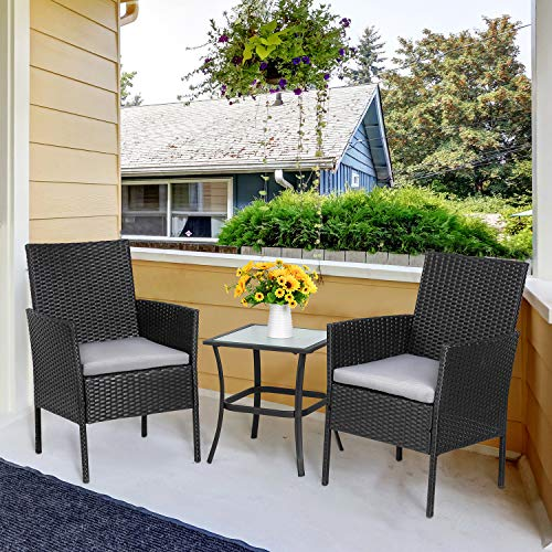 Viogarden 3-Piece Porch Furniture Set, Outdoor Wicker Patio Bistro Set Small Rattan Patio Set Patio Chairs Set of 2 with Glass Table&Gray Cushion for Lawn Garden Backyard Patio Conversation Set, Black