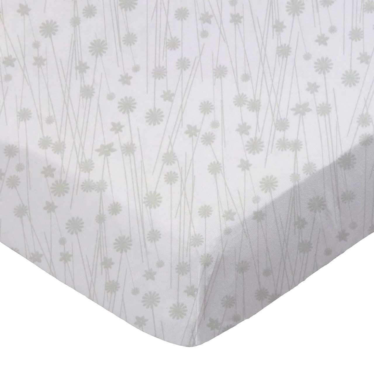 SheetWorld Fitted Basket Sheet - Grey Floral Stems - Made In USA by sheetworld   B010R5KBDS