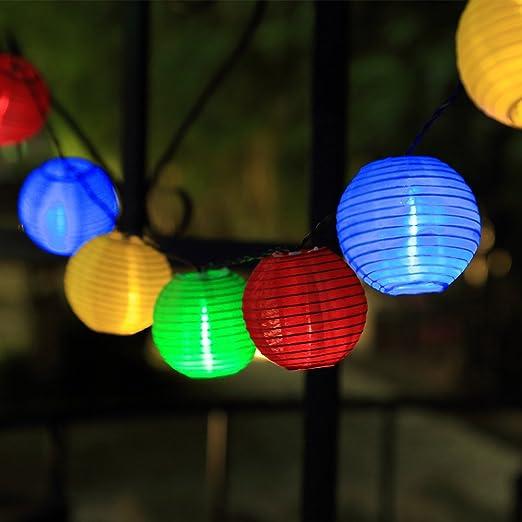 InnooTech – 20 LED Solar Luz Cadena farolillos Jardín Exterior Interior 3,3 metros multicolor como Navidad iluminación exterior, luz cadena luz exterior, de exterior, jardín Luces: Amazon.es: Iluminación